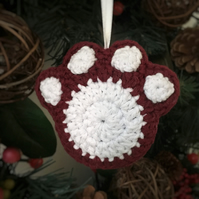 Crochet Paw Print Hanging Decoration (burgundy & white)