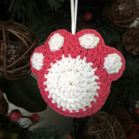 Crochet Paw Print Hanging Decoration (pink & white)