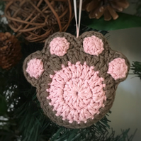 Crochet Paw Print Hanging Decoration (light brown & pink)