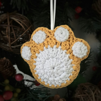 Crochet Paw Print Hanging Decoration (yellow & white)