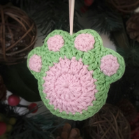 Crochet Paw Print Hanging Decoration (green & pink)