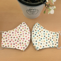 Set of 2 Paw Print Fabric Reusable Face Coverings