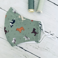 Olive Green Dog Fabric Reusable Face Covering