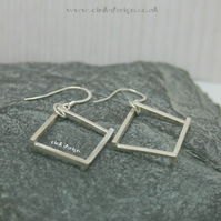 Sterling silver diamond shape drop earrings