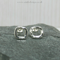 Sterling silver textured square stud earrings