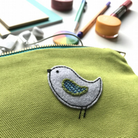 Zipped Purse Pouch with Hand Embroidered Bird Appliqué