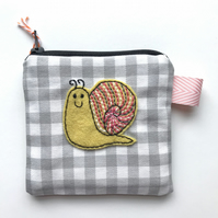 Coin Purse with Smiling Snail Appliqué Patch
