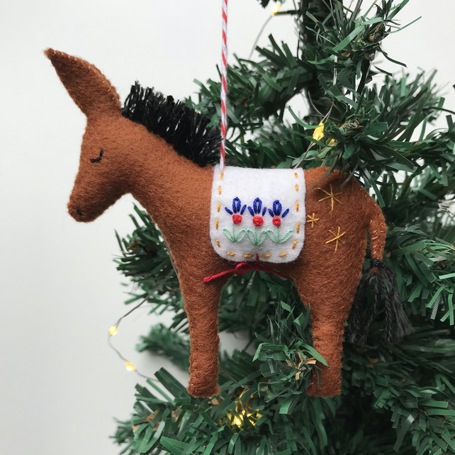 Hand Stitched Wool Felt Donkey Christmas Tree Decoration - Brown