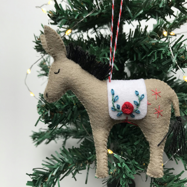Hand Stitched Wool Felt Donkey Christmas Tree Decoration - creamy brown