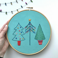 Embroidered Christmas Tree Wall Decoration Hoop Art
