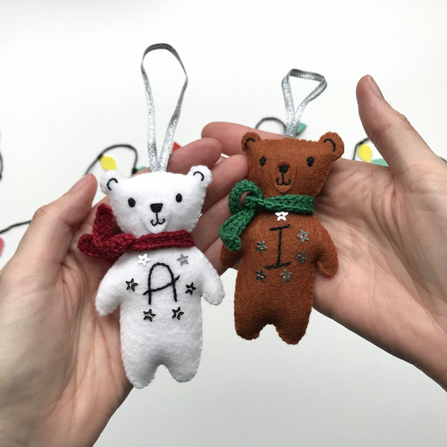 Christmas Bear Decoration with Hand Embroidered Personalisation- Made to Order