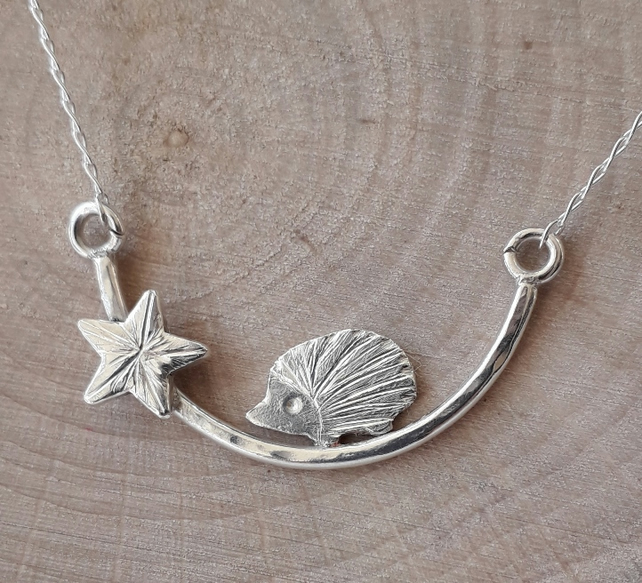 Silver sparkle hedgehog Necklace , hedgehog on a branch with a star