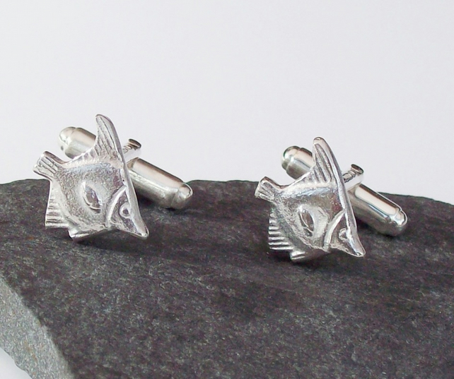 Fish Cufflinks Solid Sterling Silver 925 Hallmarked Accessories Gift for Angler