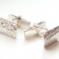 Textured Cufflinks Sterling Silver with a textured finish