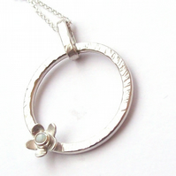 Opal pendant sterling silver rotating circle with flower