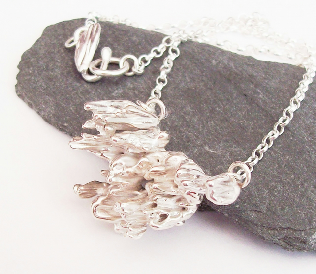 Organic Pendant Necklace , solid sterling silver cast pendant , Hallmarked
