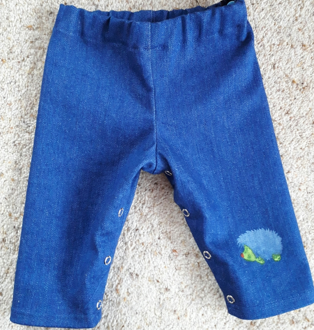 Baby Demin Jeans with Hedgehog Screen Print age newborn to 3 month