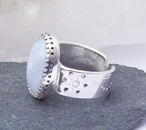 Blue Lace Agate Ring , Sterling Silver decorative Ring, , Boho Adjustable Ring