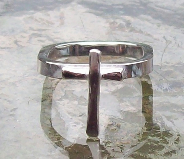 Cross Ring Sterling Silver size O , Gift for her , Statement Ring , Religious