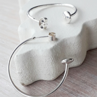 3 cm Sterling Silver hoop earrings with disc bead end, Solid Sterling Silver 925