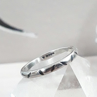 Silver Narrow band ring , size P and half  , Solid Sterling Silver Hallmarked