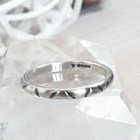Narrow band ring , size O  , Solid Sterling Silver Hallmarked