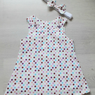 12 - 18 month Spotty Pinafore dress with headband, toddlers dress set