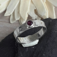 Ruby Solitaire Ring Sterling Silver Hallmarked