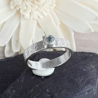 Blue Topaz Solitaire Ring Sterling Silver Hallmarked size M