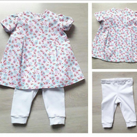 Newborn baby girls outfit Dress and Leggins set ,