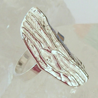 Woodbark effect silver ring , size U Sterling Silver Handmade Ring , Hallmarked