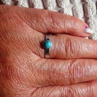 Sterling silver Turquoise ring size P Hallmarked