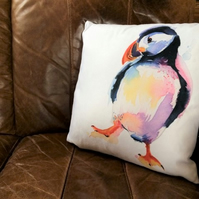 Puffin Vegan Suede Cushion