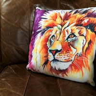 Lion Faux-Suede Cushion