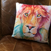 Rainbow Lion Faux Suede Cushion