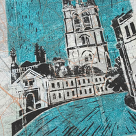 Magdalen tower Oxford (on vintage map)