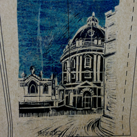 Radcliffe Camera Oxford - mixed media linoprint
