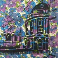 Radcliffe Camera Oxford - linoprint on floral