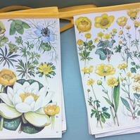 Vintage floral book bunting - bright yellow