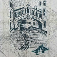 Bridge of Sighs Oxford - on vintage map