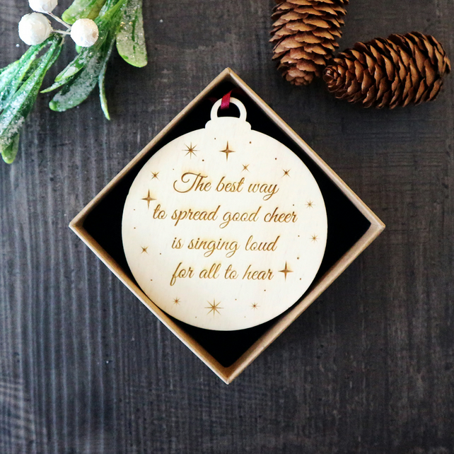 Wooden Personalised Christmas Decoration with Gift Box