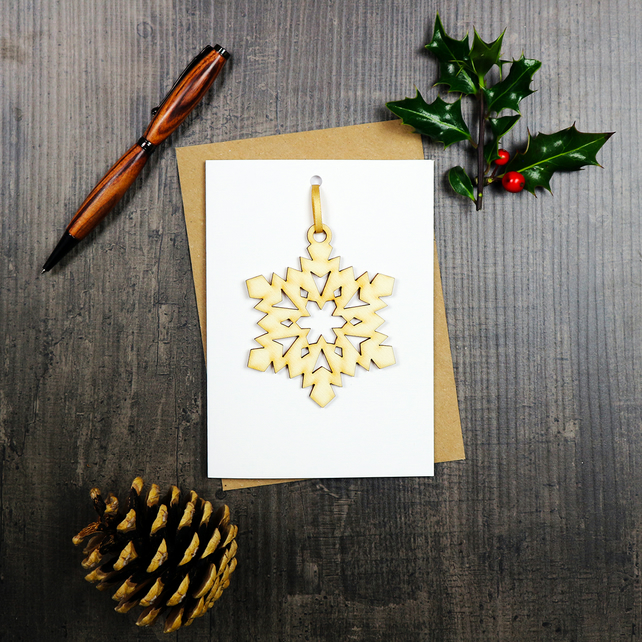 Woodcut Snowflake Decoration and Greetings Card