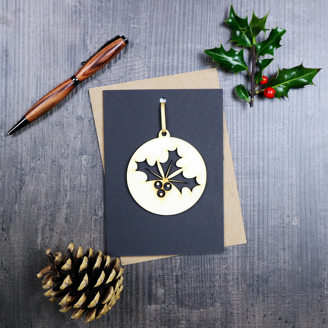 Wooden Holly Decoration and Greetings Card