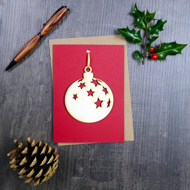 Wooden Bauble Hanging Decoration & Greetings Card