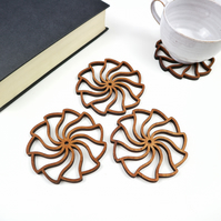 Woodcut Spiral Wave Coasters - Set of 4