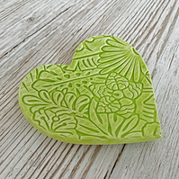 Lime Green Textured Ceramic Handmade Heart
