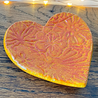 Ceramic Handmade Heart Ring Dish in Orange