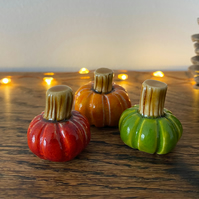 Ceramic Pumpkins - Set of Three Mini Pumpkins