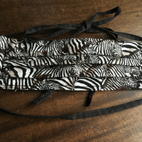 Zebra patterned cotton pleated face covering