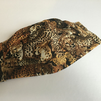 Leopard patterned cotton pleated face covering